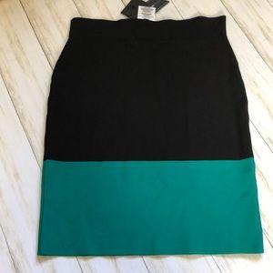 BcbgMaxazaria Black Teal Color Block Skirt